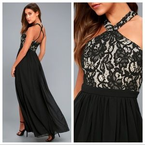 Lulu's Unforgettable Black Lace Maxi Dress F2